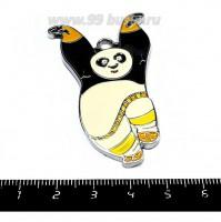 Подвеска Кунг-фу панда 55*33 мм,цвет серебро,  цветная эмаль, 1 штука 055299 - 99 бусин
