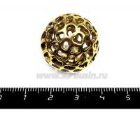 Бусина металлическая Шар пятнистый полый 24 мм цвет античное золото 1 штука 055334 - 99 бусин