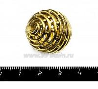 Бусина металлическая Шар параллели с точками полый 25 мм цвет античное золото 1 штука 055335 - 99 бусин