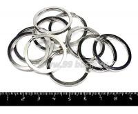 Кольцо для брелка плоское гладкое 30 мм цвет никель, 10 штук/упаковка 055341 - 99 бусин
