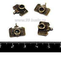 Подвеска Фотоаппарат 14* 14 мм, цвет бронза, 4 штуки/упаковка 055349 - 99 бусин