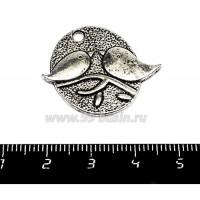 Подвеска Птички влюбленные, 25*28 мм, цвет старое серебро, 1 штука 055353 - 99 бусин