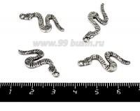 Подвеска Змейка полосатая, 26*11 мм, цвет старое серебро, 4 штуки/упаковка 055354 - 99 бусин