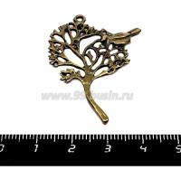 Подвеска Дерево с птичкой 42*32 мм цвет бронза  1 штука 055379 - 99 бусин