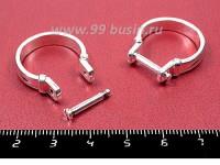 Основа для кольца в стиле Пандора 18 р-р с откручивающимся стержнем, цвет светлое серебро,  1 штука 055381 - 99 бусин