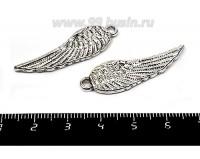 Подвеска Крыло ангельское двустороннее 38*11 мм, цвет старое серебро, 2 штуки/упаковка 055382 - 99 бусин