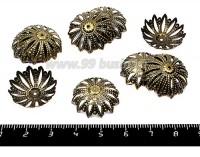 Шапочка для бусин Остроконечный Цветок МАКСИ 21*6 мм бронза 10 штук/упаковка 055404 - 99 бусин