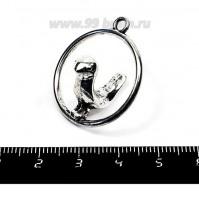 Подвеска Птичка в кольце 3D 32*28*21 мм, цвет старое серебро, 1 штука 055410 - 99 бусин