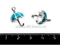 Подвеска Зонтик 19*12 мм, темно-голубая эмаль, цвет серебро 1 штука 055412 - 99 бусин
