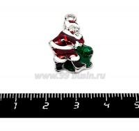 Подвеска Санта Клаус 25*16 мм, цветная эмаль, цвет серебро 1 штука 055417 - 99 бусин