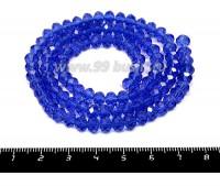 Бусина хрустальная на нити 6*4 мм, цвет синий около 100 штук/нить 055433 - 99 бусин