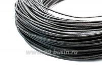 ОПТ Шнур вощёный 1 мм, цвет тёмно-серый, в пасме, 80 метров 055492 - 99 бусин