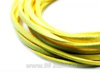 """Шнур искусственный """"Замша"""" 2,5*1 мм цвет лимонный желтый 3 отрезка по 1 метру/упаковка 055522 - 99 бусин"""