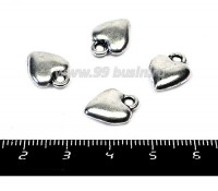 Подвеска Сердечко объемное гладкое 14*11 мм, цвет старое серебро, 4 штуки/упаковка 055554 - 99 бусин