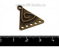 Коннектор Треугольник Этнический 6 петель, 26*23 мм, цвет бронза, 1 штука 055555 - 99 бусин