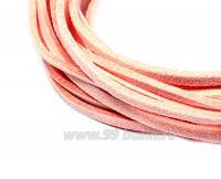 """Шнур искусственный """"Замша"""" 2,5*1 мм цвет розовый зефир 3 отрезка по 1 метру/упаковка 055589 - 99 бусин"""
