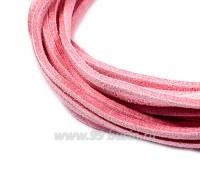 """Шнур искусственный """"Замша"""" 2,5*1 мм цвет розовый щербет 3 отрезка по 1 метру/упаковка 055590 - 99 бусин"""