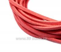 """Шнур искусственный """"Замша"""" 2,5*1 мм цвет розовый пожар 3 отрезка по 1 метру/упаковка 055594 - 99 бусин"""