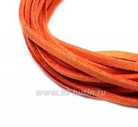 """Шнур искусственный """"Замша"""" 2,5*1 мм цвет красно-оранжевый 3 отрезка по 1 метру/упаковка 055595 - 99 бусин"""