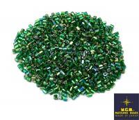 Рубка Matsuno Hexagon 2.1 мм цвет 646 зелёный травяной перламутр, серебристое отверстие Япония 10 грамм 055620 - 99 бусин