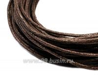 Шнур вощеный 1,5 мм коричневый 6 метров/упаковка 055624 - 99 бусин