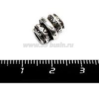 Бусина металлическая Тамтам, 11*10 мм, внутреннее отверстие 4 мм, цвет старое серебро, 1 штука 055646 - 99 бусин