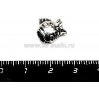Бусина металлическая Рыбка удивленная, 11*12 мм, внутреннее отверстие 5 мм, цвет старое серебро, 1 штука 055651 - 99 бусин