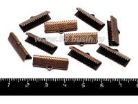 Концевик-книжка для ленты, тесьмы 20*7,5 мм, цвет медь, 10 штук/упаковка 055657 - 99 бусин