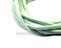 "Шнур искусственный ""Замша"" 2,5*1 мм цвет нежная мята 3 отрезка по 1 метру/упаковка 055663 - 99 бусин"