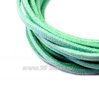 """Шнур искусственный """"Замша"""" 2,5*1 мм цвет весенний зеленый 3 отрезка по 1 метру/упаковка 055664 - 99 бусин"""