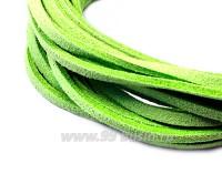 """Шнур искусственный """"Замша"""" 2,5*1 мм цвет зеленого яблока 3 отрезка по 1 метру/упаковка 055667 - 99 бусин"""