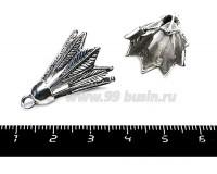 Подвеска Воланчик для бадминтона 26*19 мм, цвет старое серебро, 1 штука 055693 - 99 бусин
