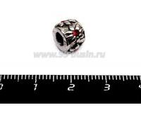 Бусина металлическая Ромашка с красным Стразиком 9*7 мм, внутреннее отверстие - 4 мм, цвет старое серебро 1 штука 055705 - 99 бусин