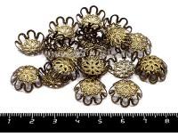 Шапочка для бусин Хризантема, 15*5 мм цвет бронза 20 штук/упаковка 055727 - 99 бусин