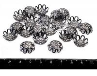 Шапочка для бусин Хризантема, 15*5 мм цвет черный никель 20 штук/упаковка 055729 - 99 бусин