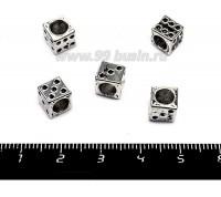 Бусина металлическая Кубик игральный, 7*7 мм, внутреннее отверстие 5 мм, цвет старое серебро, 5 штук/упаковка 055733 - 99 бусин