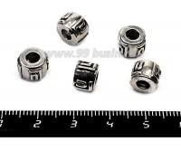 Бусина металлическая Символ, 8*6 мм, внутреннее отверстие 4 мм, цвет серебро, 5 штук/упаковка 055734 - 99 бусин