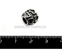 Бусина металлическая 12 сердечек, 10*9 мм, внутреннее отверстие 5 мм, цвет серебро, 1 штука 055735 - 99 бусин