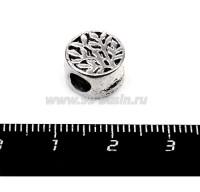 Бусина металлическая Деревце, 10*7 мм, внутреннее отверстие 4 мм, цвет серебро, 1 штука 055736 - 99 бусин