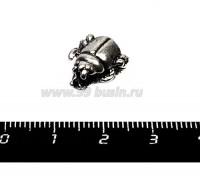 Бусина металлическая Жук, 12*7 мм, внутреннее отверстие 4 мм, цвет серебро, 1 штука 055737 - 99 бусин