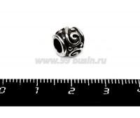 Бусина металлическая Узор Завитки-Точки, 9*8 мм, внутреннее отверстие 4 мм, цвет серебро, 1 штука 055738 - 99 бусин
