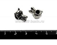 Бусина металлическая Волк, 14*10 мм, внутреннее отверстие 4 мм, цвет старое серебро, 1 штука 055754 - 99 бусин