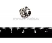 """Бусина металлическая Узор """"S"""", 10*7 мм, внутреннее отверстие 6 мм, цвет серебро, 1 штука 055763 - 99 бусин"""