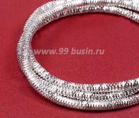 Канитель (трунцал) 3 мм цвет серебро в баночке, упаковка 5 грамм (около 55 см) 055777 - 99 бусин
