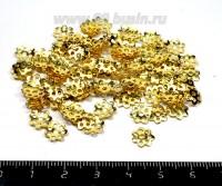 Шапочка для бусин 7,5 мм, цвет золото, 100 штук/упаковка 055850 - 99 бусин