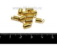 Концевик-пружинка цилиндрик 5 мм (внутреннее отверстие - 3 мм), цвет золото 10 штук/упаковка 055898 - 99 бусин