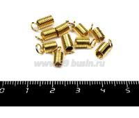 Концевик-пружинка цилиндрик 4,5 мм (внутреннее отверстие - 3 мм),  цвет золото 10 штук/упаковка 055903 - 99 бусин