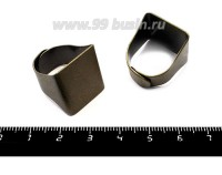 Основа для кольца Прямоугольная площадка 20*19 мм, регулируемый размер, цвет бронза 1 штука 055918 - 99 бусин
