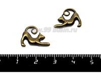 Подвеска Кошка Игривая хвост петелькой, 17*14 мм, цвет бронза 2 штуки/упаковка 055977 - 99 бусин