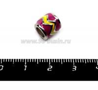 Бусина металлическая Бочонок с эмалью, 9*9 мм, внутреннее отверстие 5 мм, цвет серебро/фуксия/желтый, 1 штука 055993 - 99 бусин